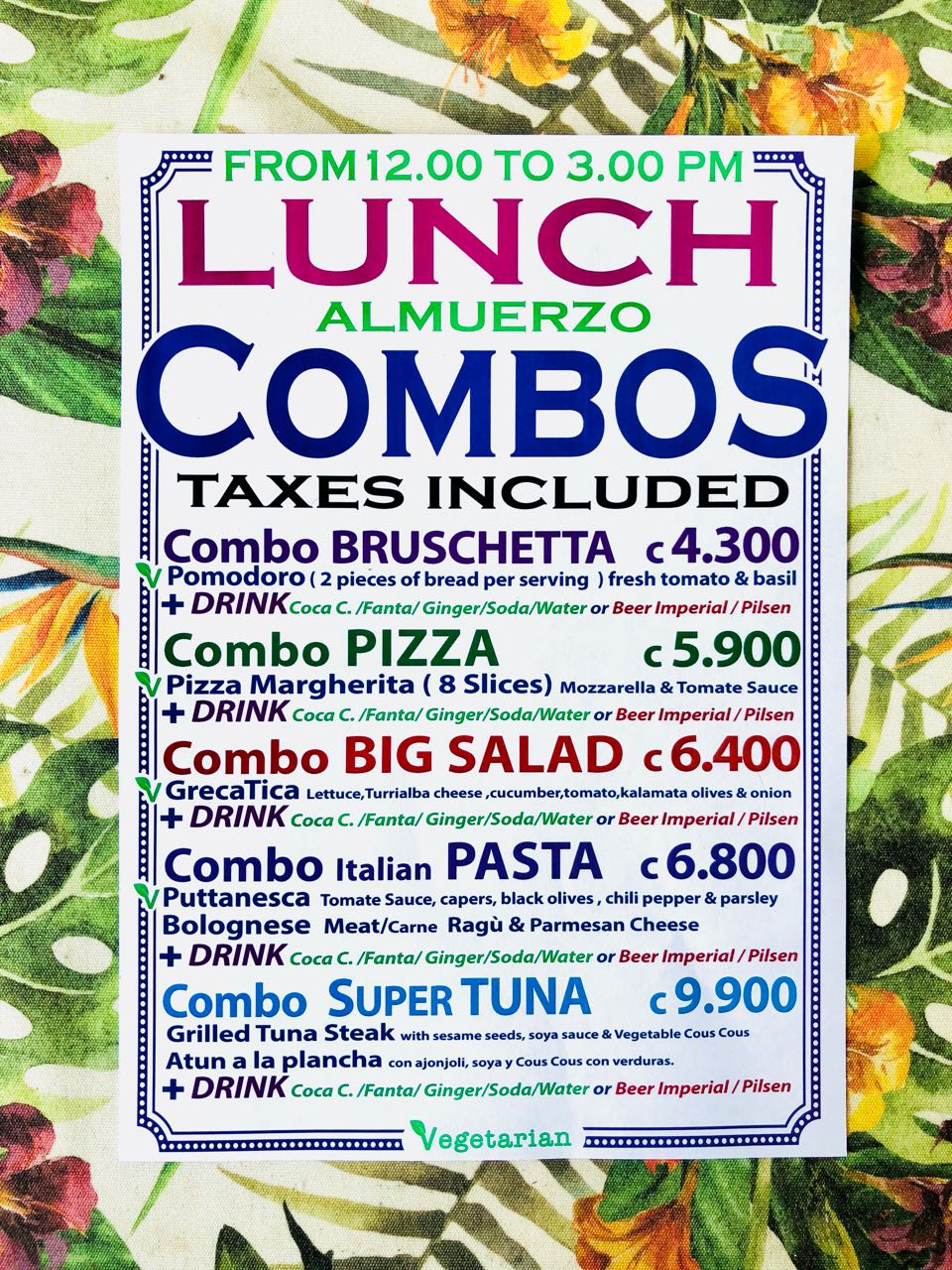 gusto beach lunch combos 2018