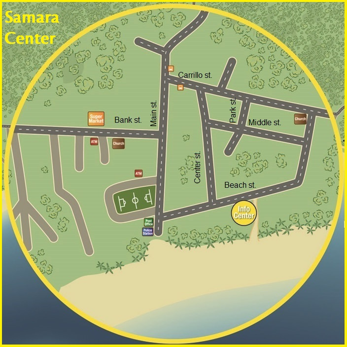 samara beach map street names info center